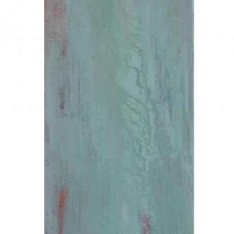 Im Fluss (2014) Acryl auf Leinwand, Kupfer + grüne Patina 20x60