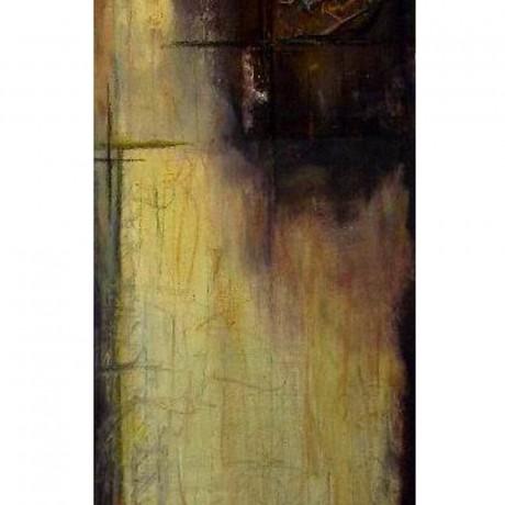 Relikt in Rost (2008), Mischtechnik, Acryl, Rost, Ölkreide auf Leinwand, 30x90