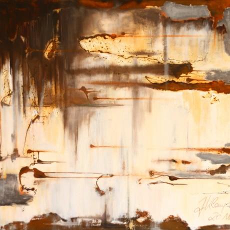 Schamanin in mir (2011) Acryl auf Leinwand, Mischtechnik + Rost + Ölkreide  160x120