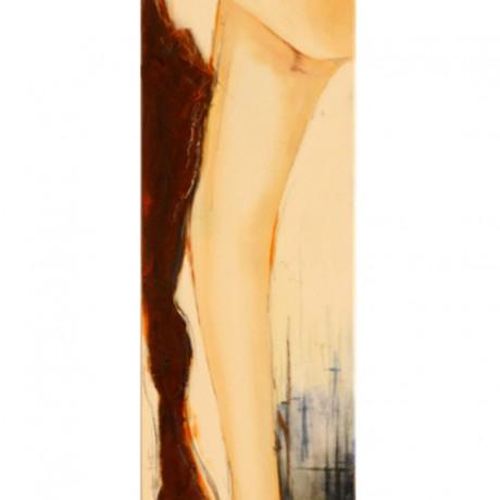 Eingerostet (2009) Acryl auf Leinwand, Mischtechnik + Rost + Ölkreide  30x180