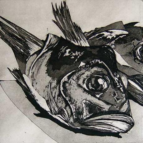 Ein Einzelner (2001), Aquatinta + Strichätzung + Kaltnadel, 15x15