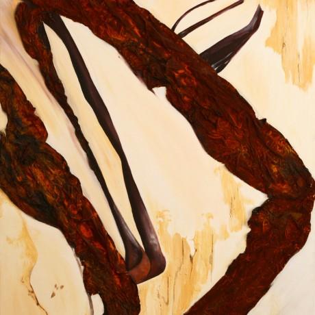 Versteinert (2011) Acryl auf Leinwand, Mischtechnik + Rost + Ölkreide  120x160