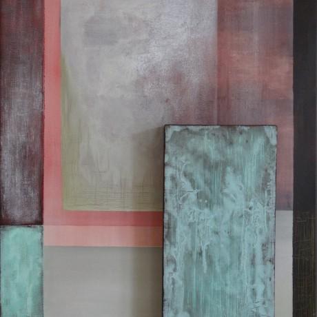 Verdoppelt (2009) Acryl auf Leinwand + Kupfer + grüne Patina 60x70 & 20x40