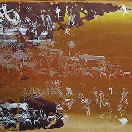 Nebeljagd (2002), Gouache auf Karton, 30x40