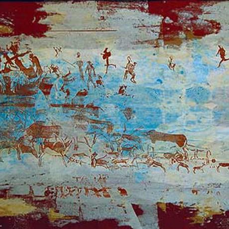 Jagd ins Blaue (2002), Gouache auf Karton, 30x40