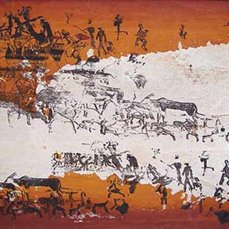 Jäger und Sammler (2002), Gouache auf Karton, 30x40