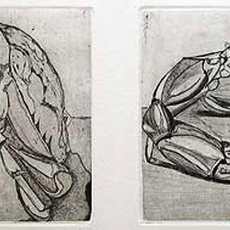 Kopfüber (2001), Aquatinta + Strichätzung + Kaltnadel, 2 Platten je 15x15
