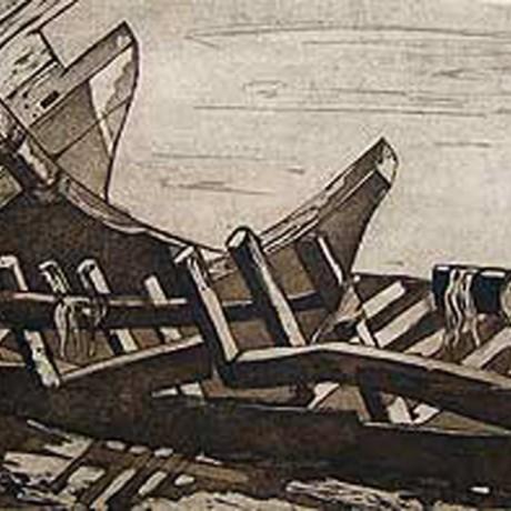 Bootswrack (2001), Aquatinta (teils geschabt) + Strichätzung + Kaltnadel, 30x15