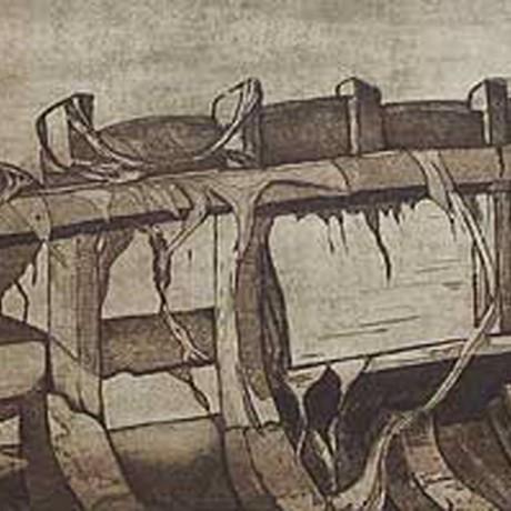 Bootswrack en detail (2001), Aquatinta (teils geschabt) + Strichätzung + Kaltnadel, 30x15