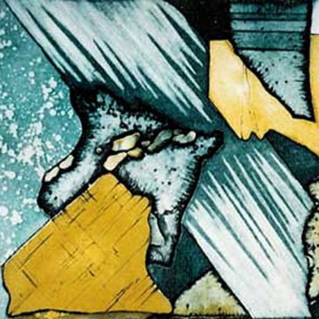 Steiniges Farbenspiel I (2002), Farbradierung mit drei Platten, Aquatinta (teils geschabt) + Strichätzung + Zuckerlösung Aussprengtechnik, 30x20