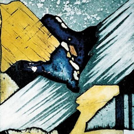 Steiniges Farbenspiel II (2002), Farbradierung mit drei Platten, Aquatinta (teils geschabt) + Strichätzung + Zuckerlösung Aussprengtechnik, 30x20