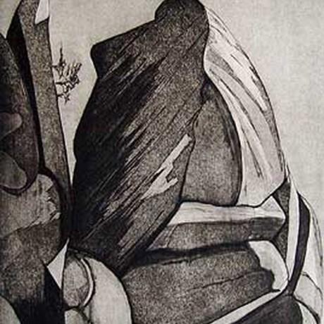 Les rochers bizarres II (2001), Aquatinta + Lithokreide + Strichätzung, 20x30