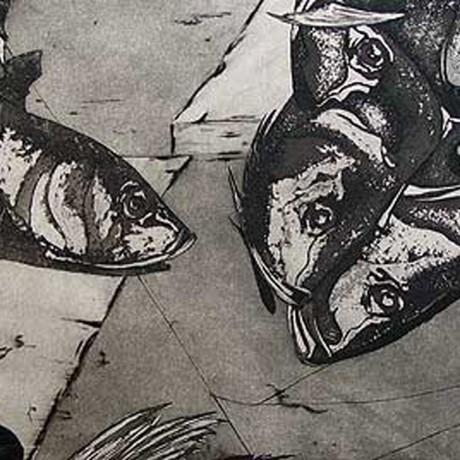 Nichts als Fischköpfe (2001), Aquatinta + Strichätzung + Kaltnadel, 15x15