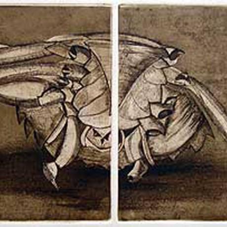 Fragmente (2001), Aquatinta + Lithokreide + Strichätzung + Kaltnadel, 2 Platten je 15x15