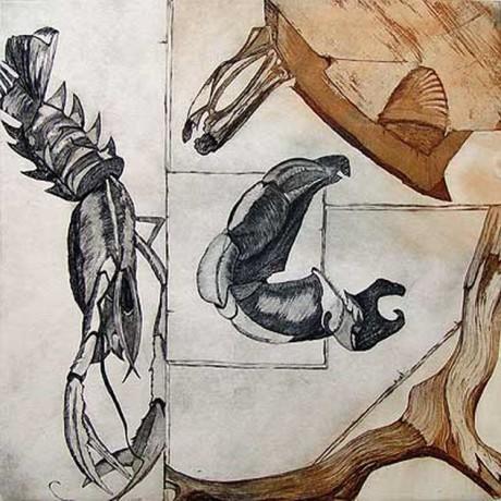 Objets trouvé (2001), Aquatinta + Strichätzung + Kaltnadel, 30x30